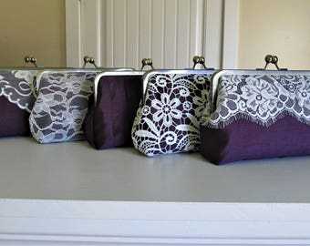SALE 20% OFF Mis Matched Bridesmaid Clutches Set of 5 Purple,Bridal Accessories,Wedding Clutch,Lace Clutch,Bridesmaid Clutch