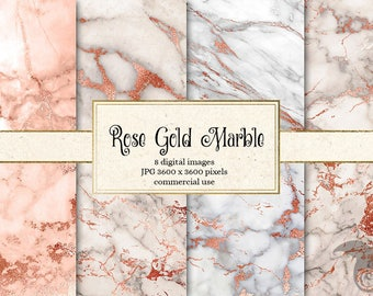 Rose Gold Marble Digital Paper, pink and gold marble, pink marble textures, white marble digital paper, marble backgrounds, scrapbooking