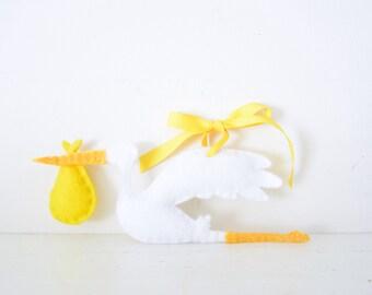 STORK - Yellow Baby Stork ORNAMENT - Baby Keepsake - Baby's First Christmas Ornament - Yellow Baby Shower Decor - Felt Stork Decoration