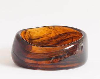 BROWN BANGLE, RETRO  brown bangle marble effect lucite bangle, asymmetrical, vintage chunky  brown lucite bangle, retro gift idea