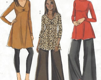 Womens Stretch Knit Tunic or Dress and Wide Leg Pants OOP Butterick Sewing Pattern B5260 Size 16 18 20 22 24 26 Bust 38 to 48 UnCut