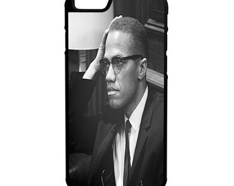 Malcolm X iPhone Galaxy Note LG HTC Protective Hybrid Rubber Hard Plastic Snap on Case Black