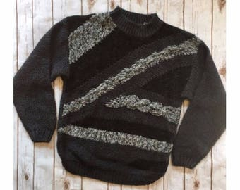 Vintage Chunky Knit Sweater, 90s Sweater Adult Medium, Gray Black Striped Sweater, Cozy Sweater, Hipster Sweater, Vintage Oversized Sweater