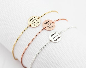 Personalized Disc Bracelet, Handwriting Engraved Bracelet - YOUR HANDWRITING - or Image, Sterling Silver, Gold or Rose Gold, Jewelry For Her