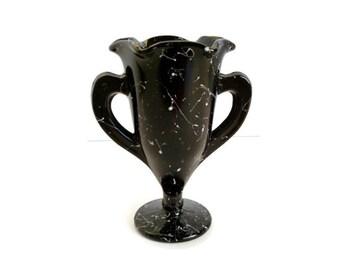 Vintage Black Glass Vase - Black Amethyst Confetti Vase - L E Smith Black Glassware