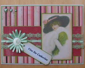 "card ""Sainte Catherine"" - Catherinette - vintage lace Ribbon flower image"