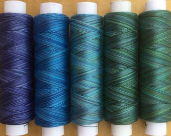 The Blues, Hand Dyed Cotton Machine Embroidery Thread, Machine Quilting Thread, Tatting, Crochet, Creative Embroidery/Quilting