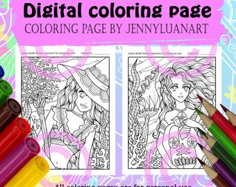 Anime Doodle Mermaid Witch Pumpkin Halloween Coloring Page PDF download for Halloween