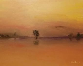 Oil Painting Sunset with Trees on the Horizon Fine Art Signed Original