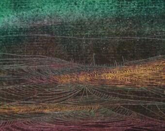 "Original oil pastel drawing 6""x4"" URBAN"