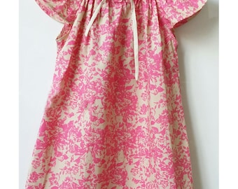Cotton dress with butterfly sleeves for baby and girl