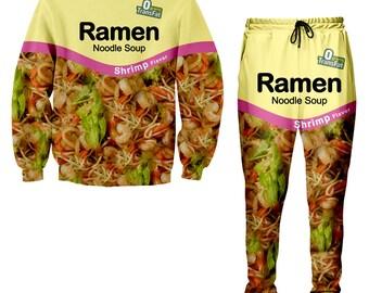 Shrimp Ramen Noodle Tracksuit, Ramen Noodle Sweatshirt, Ramen Noodle Jogger Pants