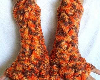 Fingerless Gloves Knit  Arm  Warmers Orange Tangerine Brown Cabled Acrylic Non-Itchy
