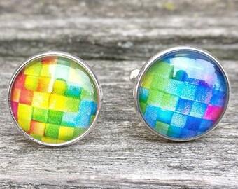 Rainbow Brick Cufflinks. Wedding, Valentine Gift, Groomsmen, Dad, Anniversary, Birthday, Abstract. ROYGBIV.