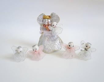 Spun Cotton Angels, Vintage Mini Angels, Angels, White Tulle Angels, Fairy Garden, Diorama, Dollhouse Miniatures, Mini Angels, Vintage Angel