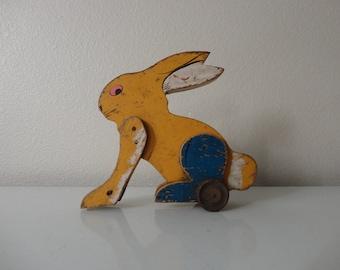 VINTAGE folk art primitive wooden bunny RABBIT TOY - display only