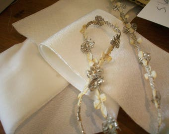rare antique authentic ribbon work silk and silver metal Garland