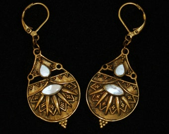 70's brass and Mother of Pearl tribal gypsy dancer shield dangles, handsome cut out beaded India brass & bezel set MOP hippie boho earrings