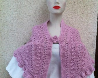 Very soft and warm, bright pink shawl in Alpaca and wool