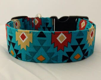 Aztec-Navajo-Turquoise-Black-Adjustable Buckle-Martingale Dog Collar-Small-Large Breed Dog-1 inch 1.5 -2 inch width-Traffic-Dog Leash
