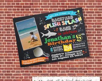 Backyard Splish Splash party bash invitation birthday pool party invite under the sea chalkboard w photo digital invitation printable 13426