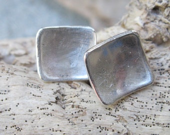 Brushed sterling square studs, silver post concave earrings, artisan pattern concave post earrings