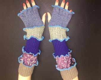 Katwise Pattern Finger-less Gloves, Arm Warmers, Drive Warm Gloves, Handmade Upcycled Sweaters, One Size Cotton, Unique fashion