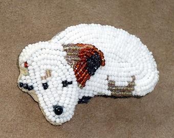 IRISH JACK RUSSELL Terrier Keepsake beaded dog pin pendant jewelry/ Ready to Ship