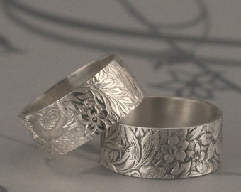 Flora and Fauna 8.5mm Wide Sterling Silver Band or Floral Wedding Ring--Spring/Summer Lily Flower Bouquet Patterned Wedding Band