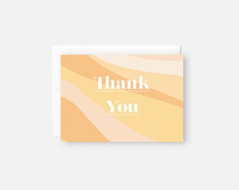 Thank You Notes Modern / Orange Thank You Note Set / Thank You Card Pack / Bridal Shower / Baby Shower / Graduation / Thank You Card Bulk
