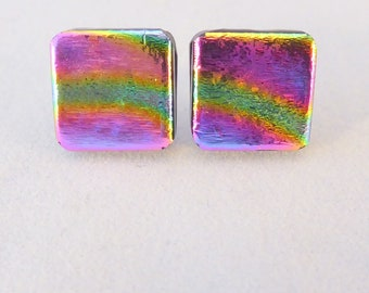 Multi Colored Dichroic Fused Glass Stud Earrings, Fused Glass, Fused Glass Earrings, Glass, Dichroic Earrings, Dichroic, Studs, Colorful