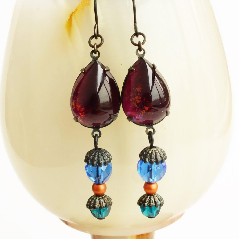 Purple Blue Glass Dangle Earrings Burgundy Drop Earrings Nail Polish ...