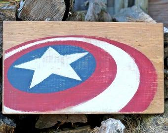 Captain America Shield Profile Wooden Sign