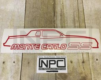 Monte Carlo car outline decal/sticker
