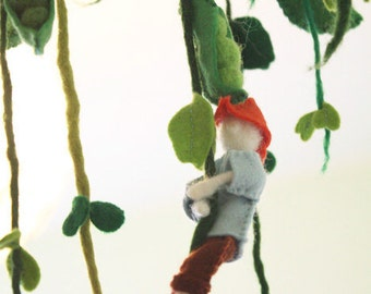 Jack And The Beanstalk Storytelling Mobile, Waldorf fairy tale gift, children room decor, Waldorf mobile, giant, educational playground, fun