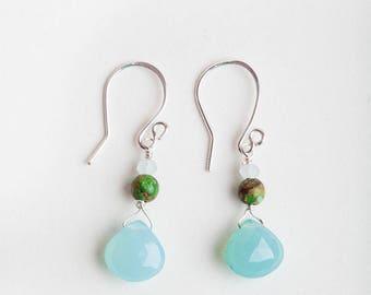 Aqua Chalcedony Earrings, Aqua, Chalcedony Earrings, Aqua Earrings, Jasper, Jade, Gemstone Earrings, Teardrop Earrings, Aqua Teardrop
