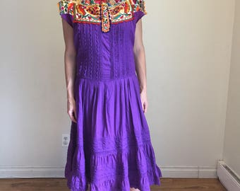 Boho Dress, 60s Folk Dress, Hand Loomed Huipil Dress Mexican Dress Purple Hippie Dress Embroidered Woven Ethnic Textile Hand Pleated Oaxacan