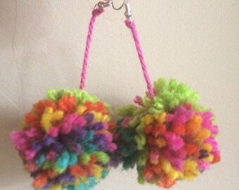 Multicoloured Pom-Pom earrings