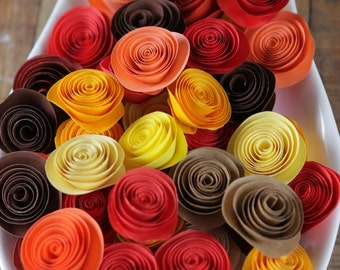 100 Pcs Fall Autumn  Spiral Paper Rosettes for Weddings and Craft Projects