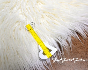 Off White Mongolian Plush Thick Fur Faux Fabric By The Yard Remnants Shag Furs  Animal Upholstery Supply Crafts Fake Sheepskins
