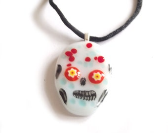Day of the Dead fused glass pendant