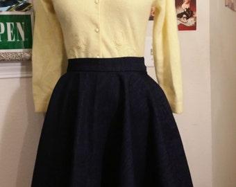 dark navy blue denim circle skirt