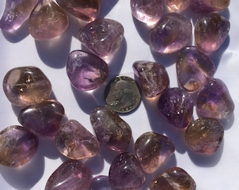 Beautiful Tumbled AMETRINE Healing Gemstone// Amethyst + Citrine// Tumbled Stones// Healing Crystals// February Birthstone