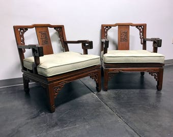 Asian Korean Carved Mahogany Lounge Chairs Made in Korea - Pair