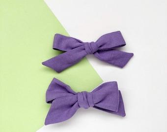 Girls Headband, Baby Headband, Baby Bow, Girls Bow, Linen Bow, Purple Bow