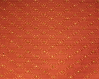 Red and Gold Double Diamond Fabric - Upholstery Fabric By The Yard