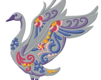 Flower Power Trumpeter Swan ~ (5.86 x 6.31) ~ Iron-on Patch ~ Iron on Patch ~ Embroidered Patch ~ Applique ~ MADE TO ORDER
