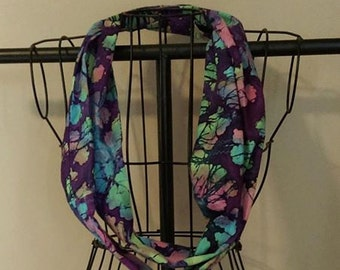 Fabric Infinity Scarf Purple Batik