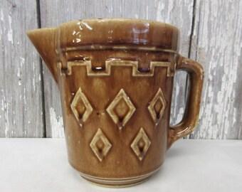 vintage pitcher, crackled glaze finish, five inches tall, old pottery pitcher, farm house decor, old primitive, retro kitchen decor