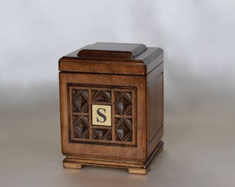 Handmade and Hand Carved Wooden Urn. Size - Small